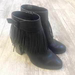 ALDO Tahlia Black Leather Fringe Stack Heel Bootie
